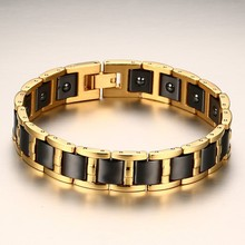 Фотография Outstanding Gents Stainless Steel Magnetic Therapy Bracelet Inlaid Black Ceramic Gold Plated Wristband Bangle for Men Jewelry