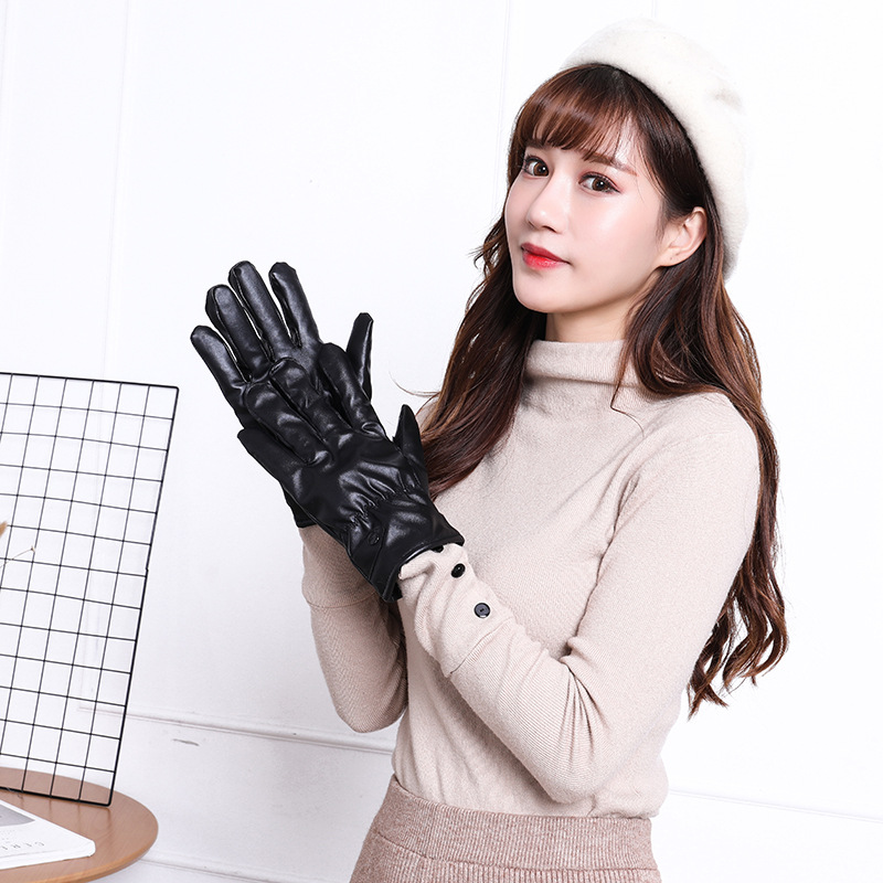 2019 black gloves gloves women guantes de cuero mujer ladies gloves men's winter gloves women's mittens Very stylish and warm