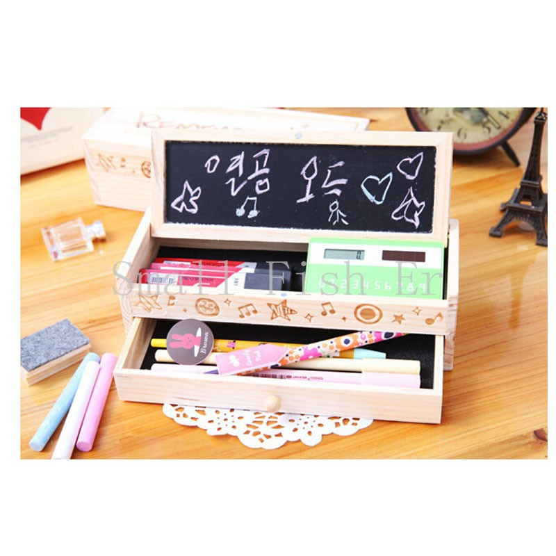 New Multifunctional Wooden School Pencil Box Pen Case High - grade gift box Vintage Stationery Holder With Chalk And BlackboardNew Multifunctional Wooden School Pencil Box Pen Case High - grade gift box Vintage Stationery Holder With Chalk And Blackboard