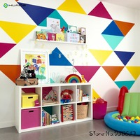 Jumbo Triangles Multicolor Wall Stickers Home Decor Living Room TV Background Wall Art Vinyl Large Wall