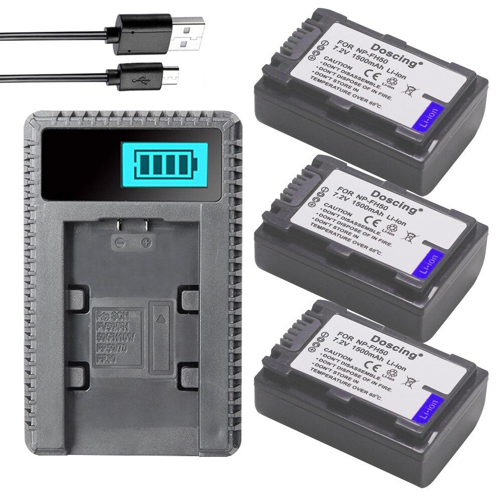 Doscing 3 pièces NP-FH50 NP FH50 Batterie + USB Chargeur LCD pour Sony A230 A330 A290 A380 A390 HDR-TG1E TG3 TG5 TG7 DSC-HX1 DSC-HX200