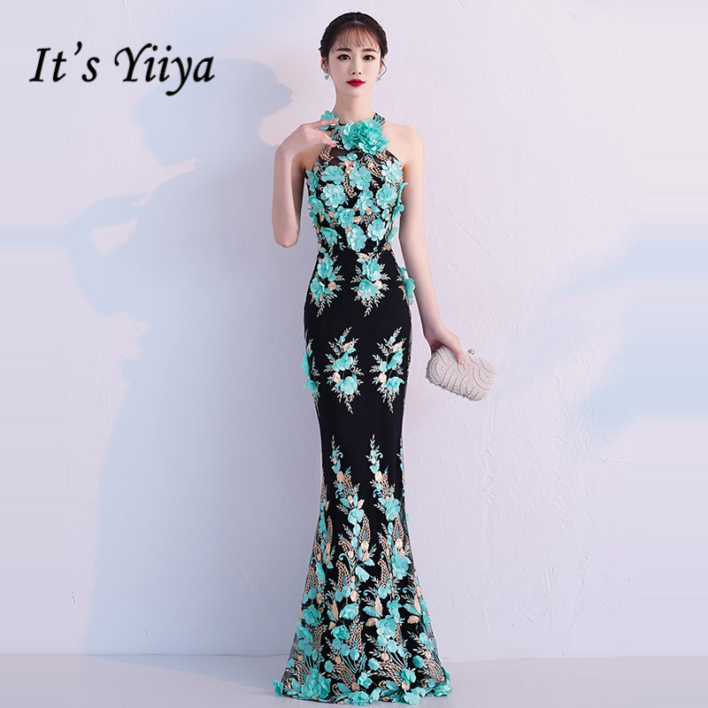 It's YiiYa Evening Dress 2019 Floral Embroidery Beautiful Halter Sleeveless Trumpet Dinner Gowns Zipper Party Frocks TR002(China)