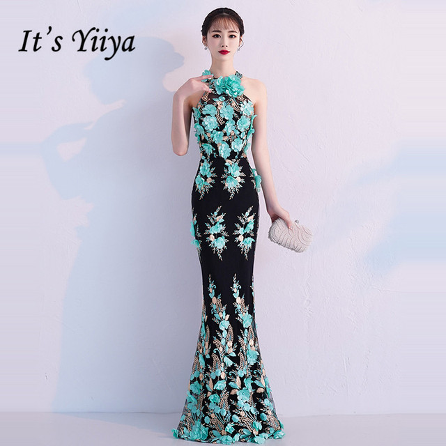 It s YiiYa Evening Dress 2019 Floral Embroidery Beautiful Halter Sleeveless  Trumpet Dinner Gowns Zipper Party Frocks TR002 b226cc067632