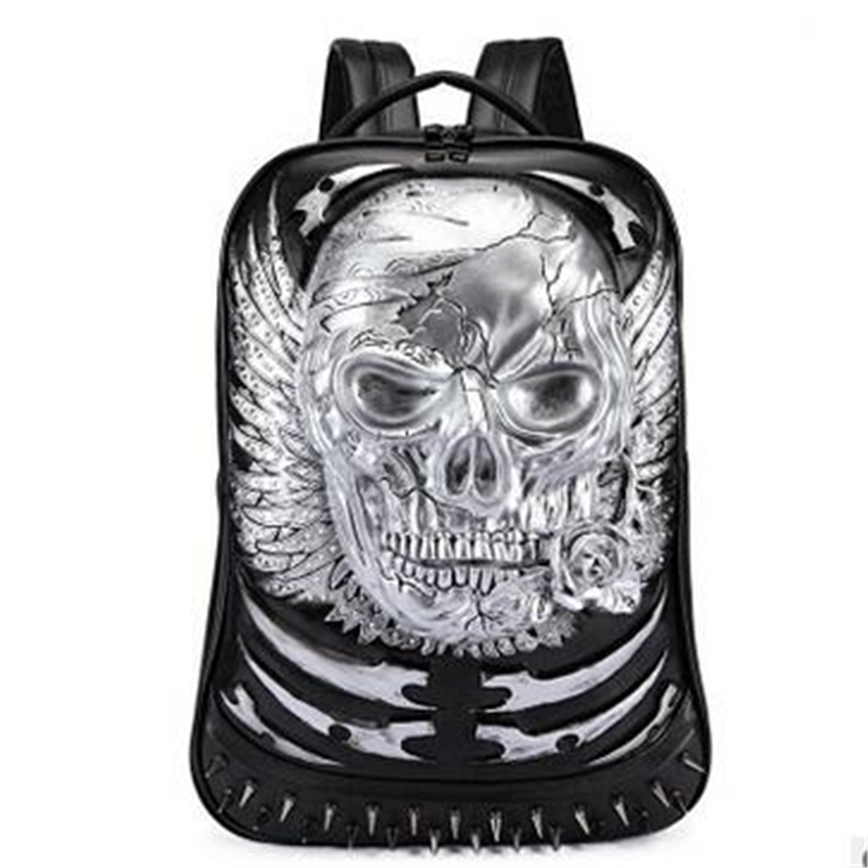 Steelsir 2017 New Punk Fashion Men Personality Travel Backpack Gothic Skull Rivet Motorcycle Ride Laptop Bag Unique 3D Backpack 2017 new steam punk punk street gothic personality hole slim slim female stretch leggings