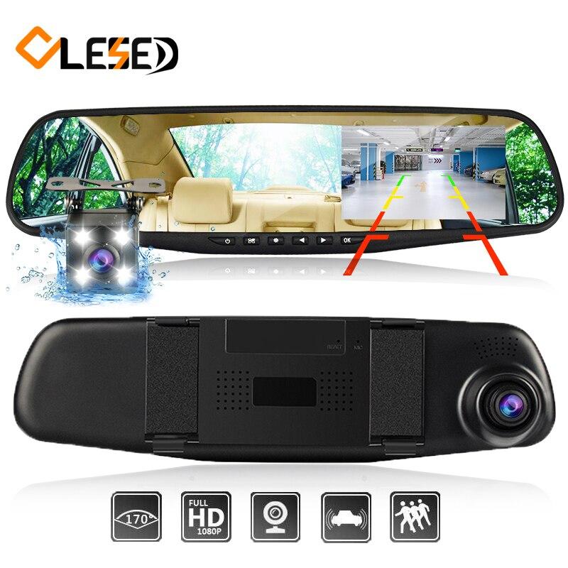 Dash CAM espejo Dash Cámara lente dual de las cámaras DVR coche con dos cámaras retrovisor dashcam Full HD grabador de vídeo frontal y trasero