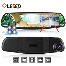 dash cam mirror dash font b camera b font dual cameras lens car dvr with two