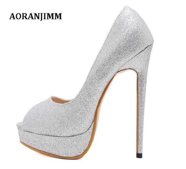 9864c52bea17 Free shipping silver glitter peep toe women lady 150mm high thin tiny heel  wedding bride club party sexy high heel pump shoes