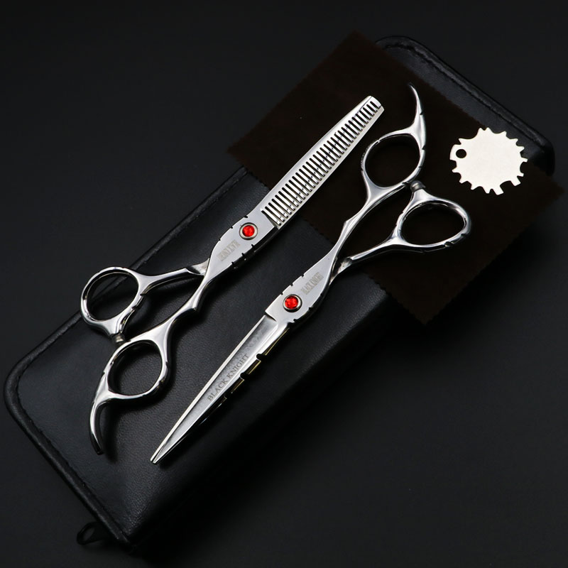 BLACK KNIGHT 6 Inch Hair Scissors Hairdressing Professional Cutting And Thinning Shears For Barber Salon