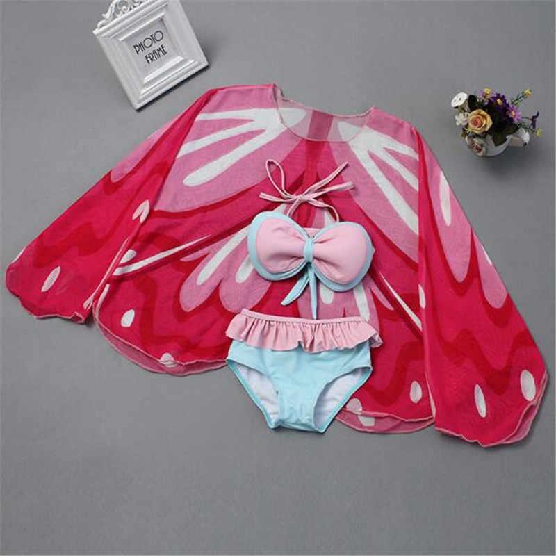 Детский купальный костюм для девочек с принтом бабочки; свитер с изображением солнца милый купальник-бикини, комплект из трех предметов одежда для купания для солнцезащитный купальник пляжная одежда