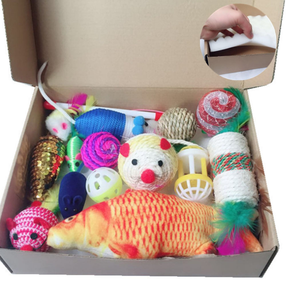 15Pcs/Sets Pet Cat Toy Suit Tease Stick Mouse Ball Gift Fashions Talk Cat toys Variety Pack For Kitty #D7