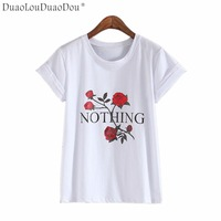 Nothing Letter Print T Shirt Rose Harajuku T Shirt Women Summer Casual Short Sleeve TShirt White