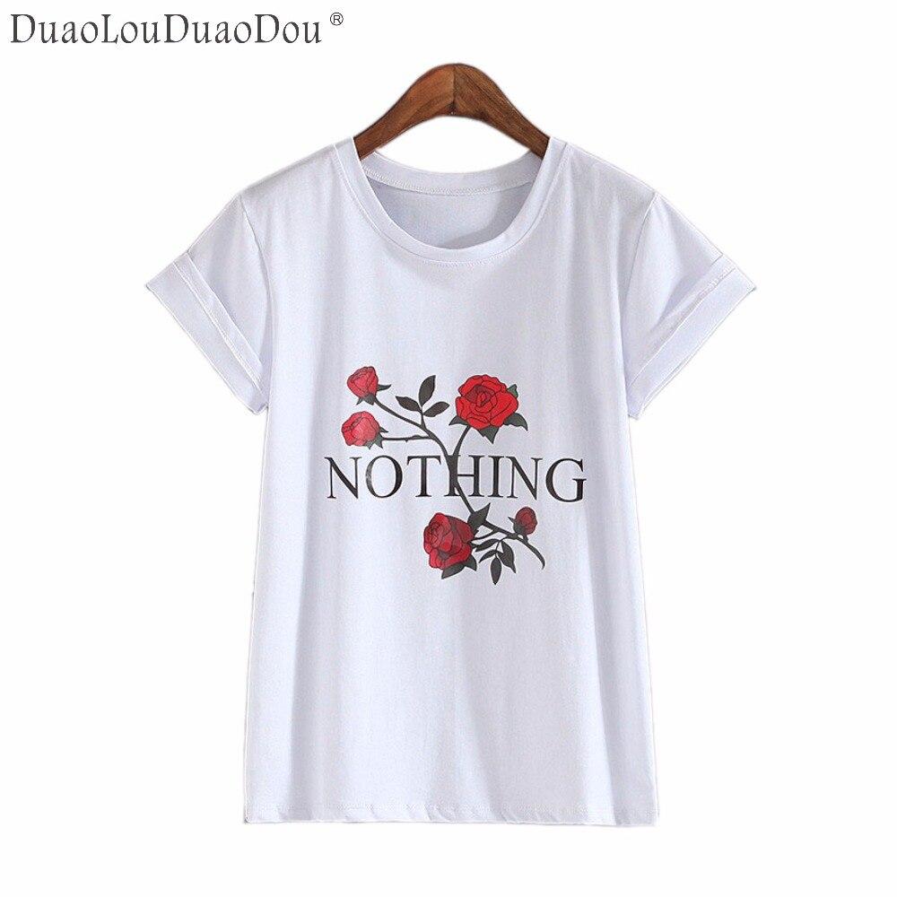 T shirt printing at white rose - Nothing Letter Print T Shirt Rose Harajuku T Shirt Women Summer Casual Short Sleeve Tshirt White Punk Tshirts Asian Size S Xl