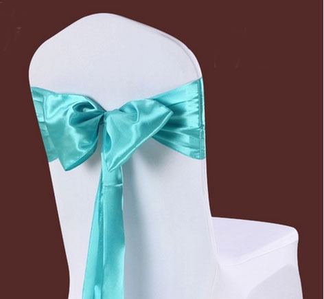 household satin chair covering sashes wedding chair cover streamer