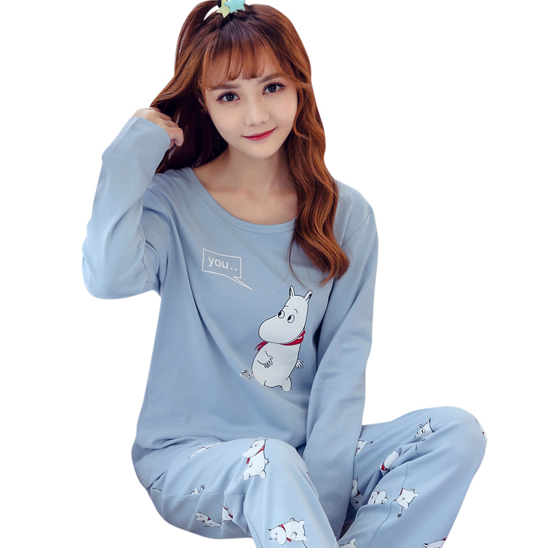 Women   Pajama     Sets   2019 New Cute Sleepwear Women Hippo Print Long Sleeve Round Neck Pants   Pajama     Set   Big Size Sleep Lounge Pijama