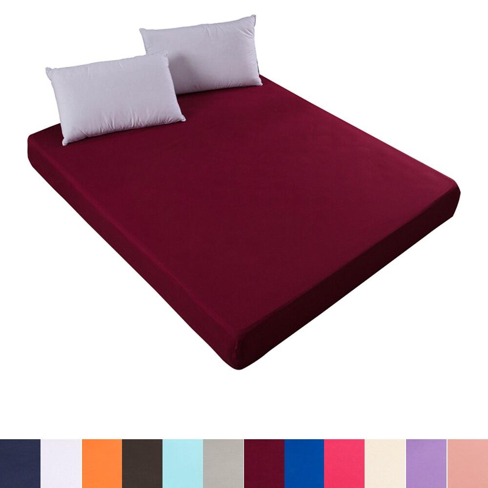 Drap housse de matelas couleur unie | Drap de lit, bande de caoutchouc, tout rond, simple et double, pour double reine complète