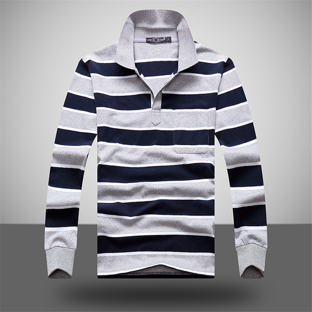 Casual Polo Shirt Men Hot Sales Cotton Long Sleeve Polos Shirts High Quality Striped Homme Pull M-XXL Brand Clothing Camisa Polo