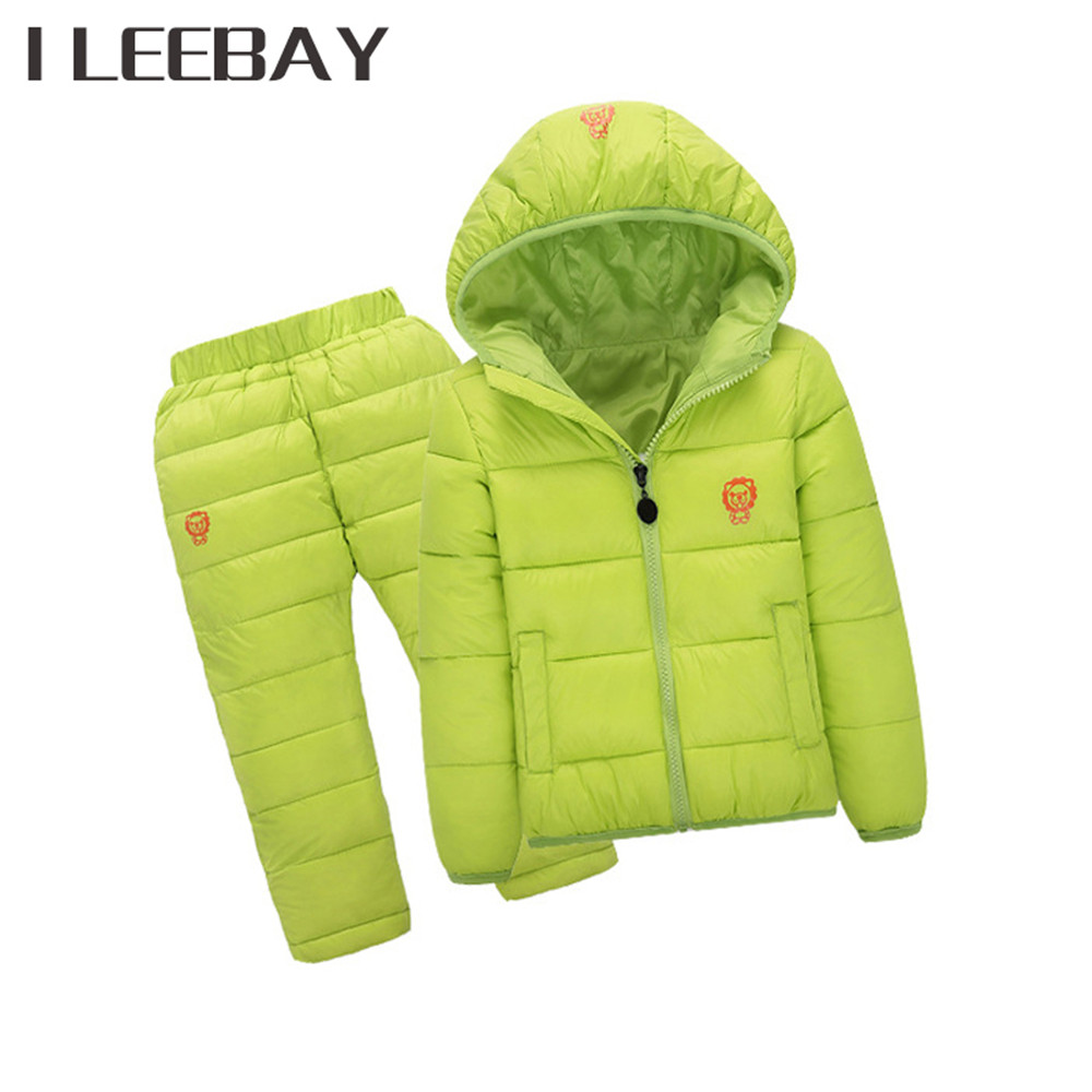 Winter 5 Colors Children Boys Girls Clothing Sets Cotton Hooded Down Jackets+Trousers Waterproof Snow Warm Kids Costume Suits 2017 children matte down jackets clothing sets 2pcs coat trousers winter kids ski suits boys
