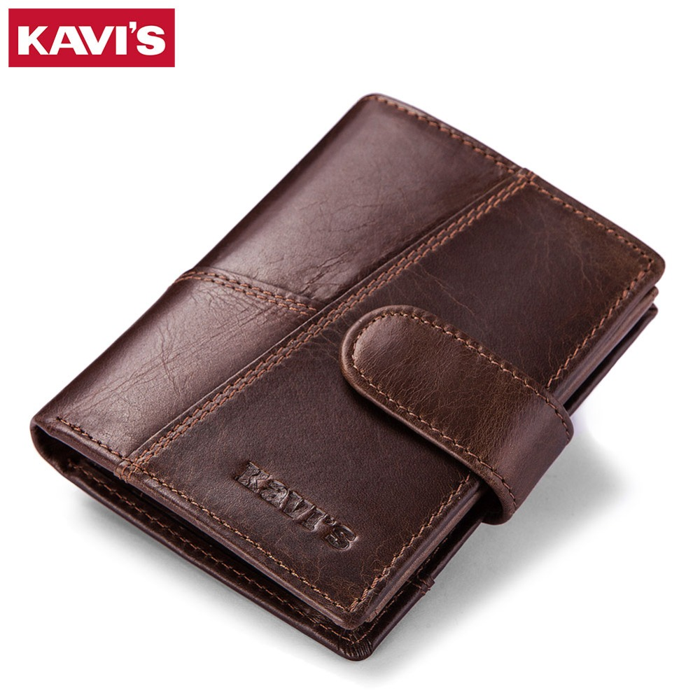KAVIS Genuine Leather Wallet Men Coin Purse Small Male Clutch Walet Portomonee PORTFOLIO Hasp Mens Money Bag Card Holder Slim kavis brand crazy horse genuine leather wallet men wallets coin purse with card holder mini male with bag portomonee small walet