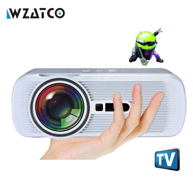 WZATCO 1800Lumen Android Wifi Bluetooth Multifunction LED home cinema digital beamer LCD 3D TV pocket smart