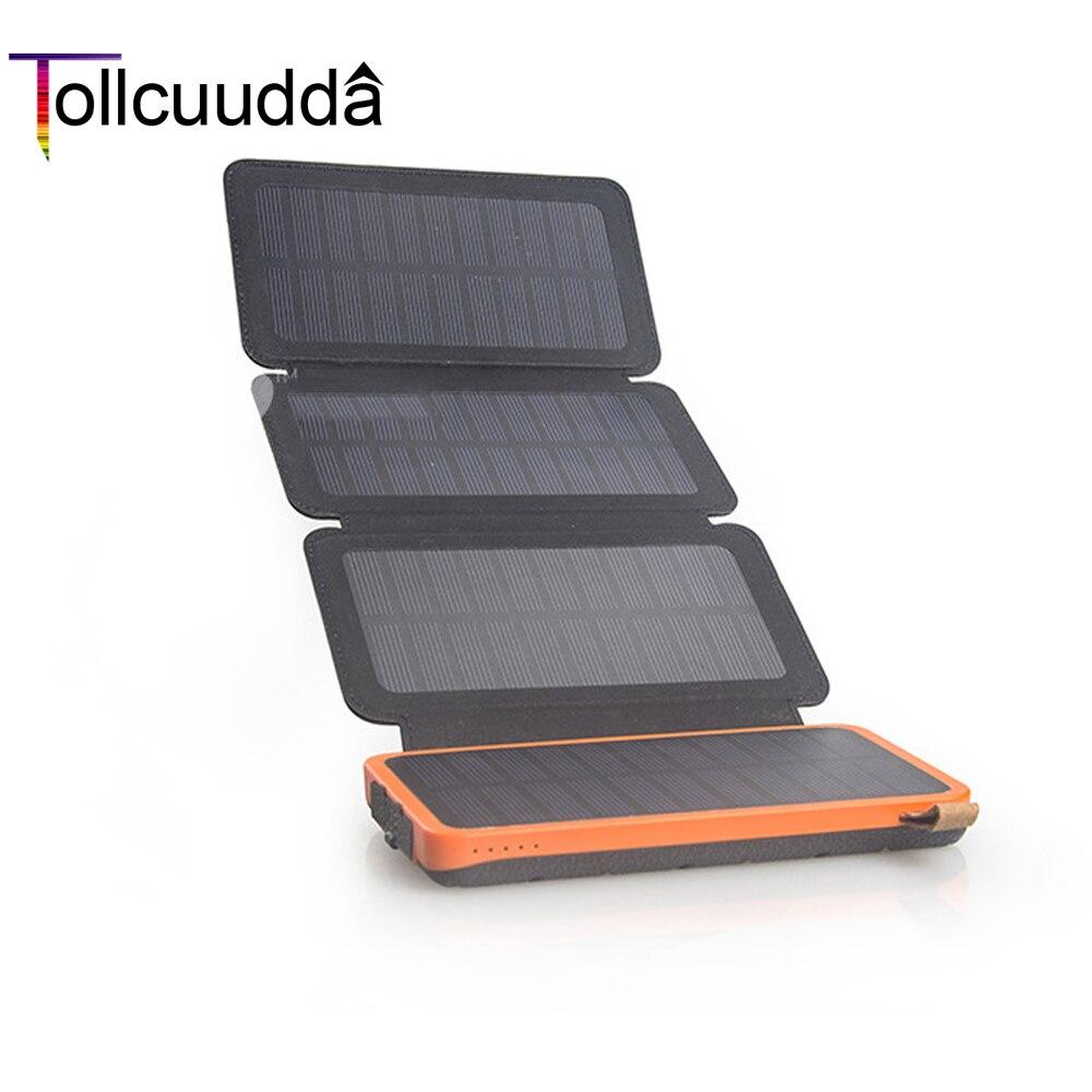 imágenes para Tollcuudda Pliegues Cargador Solar Portátil Poverbank Solar Power Bank 10000 mAh Batería Externa Dual del USB Para El Iphone 6 s Todo teléfonos