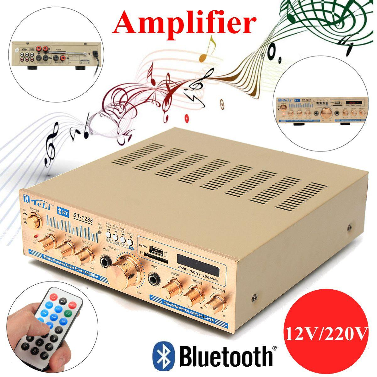 2*100w Amplifier Bluetooth 12V/220V Stereo Audio Amplifier for Home 2CH High power with card radio DC power amplifier