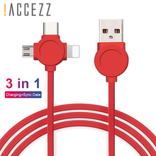 !ACCEZZ TPE 3 in 1 Charging Cable 8 Pin For iPhone X XR XS Max Micro USB Type C For Samsung S9 Huawei Xiaomi Charger Data Cables цены
