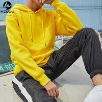 HZIJUE Design New Fashion Hip Hop Hoodies 2017 Men Yellow Green Sweatshirts Man Brand LONG Sleeve