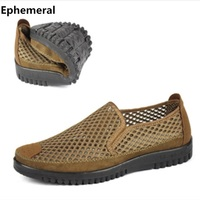 Men Slip On Loafers Summer Breathable Man Shoes European Stye Casual Round Toe Cut Out Thick