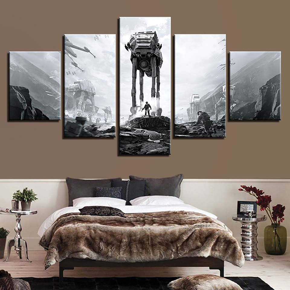 Wall Art Canvas Painting HD Prints 5 Piece Star Wars Home Decoration Modular Movie Pictures Creative Restaurant Poster Framework image