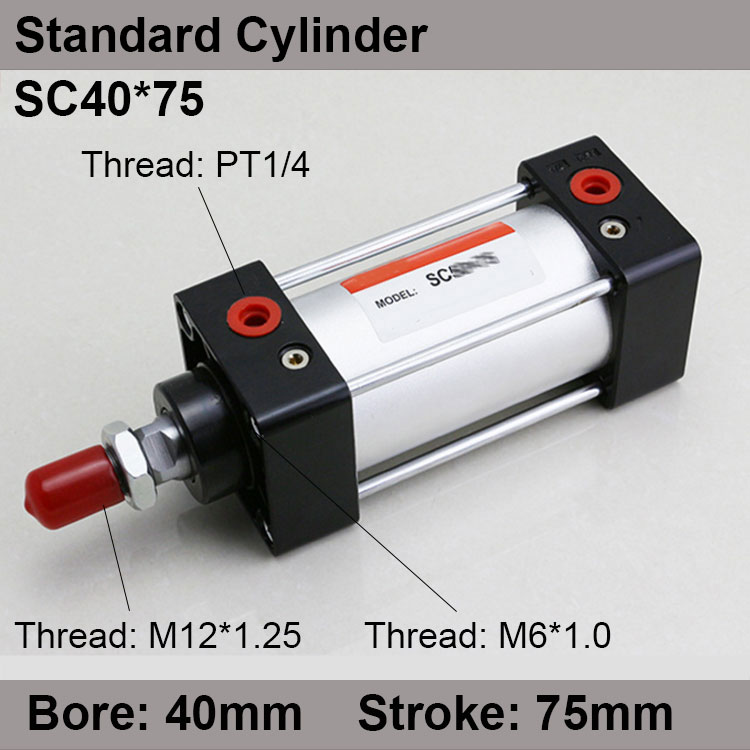 SC40*75 SC Series Standard Air Cylinders Valve 40mm Bore 75mm Stroke SC40-75 Single Rod Double Acting Pneumatic Cylinder sc32 175 sc series standard air cylinders valve 32mm bore 175mm stroke sc32 175 single rod double acting pneumatic cylinder