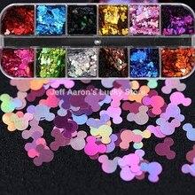 12 couleurs acrylique Nail Art paillettes paillettes décalcomanies ensemble pour faux ongles conseils décoration beauté manucure outils souris