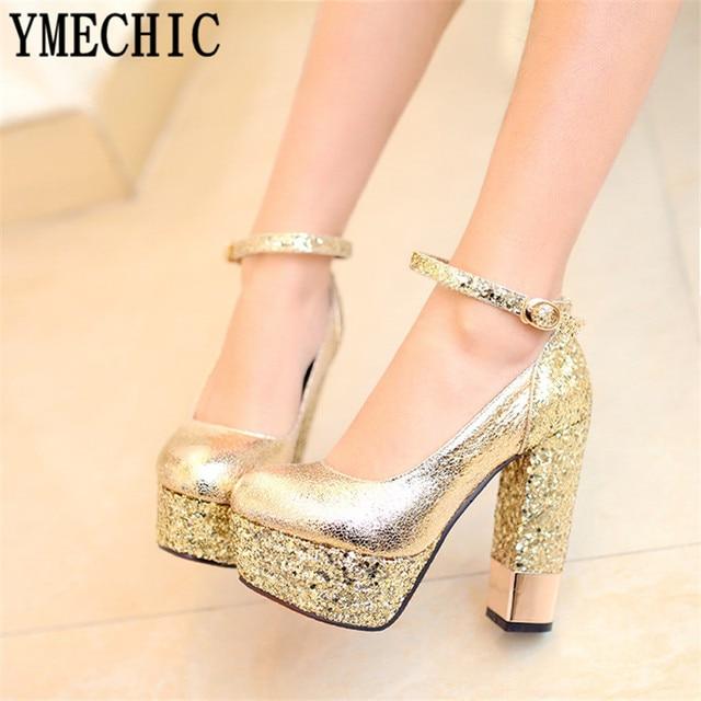 0f7e47027d1f4 YMECHIC moda sexy argento scarpe da sposa in oro bianco di colore nero  delle donne del
