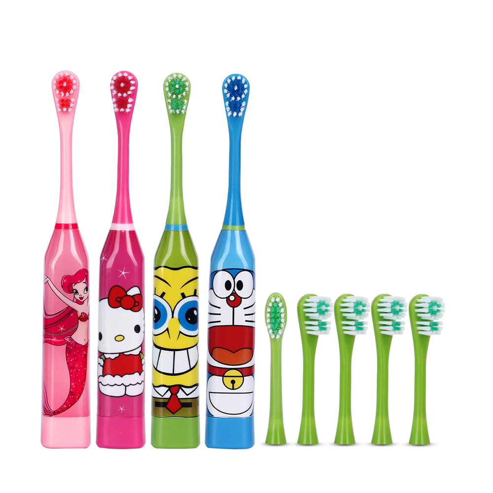 6 pcs Heads Children's Sonic Electric Toothbrush Cute Cartoon Teeth Whitening Toothbrush Soft Bristle Kids Double-sided Brush ckeyin cartoon dolphin children music electric toothbrush led tooth brush 22000 min kids sonic toothbrush electric 3 brush heads