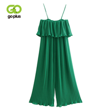 GOPLUS Green Rompers Womens Jumpsuit Ruffle SLeeveless Strap Chiffon Pleated Jumpsuits Long Wide Leg Overalls Plus Size C7555 sleeveless pleated jumpsuit
