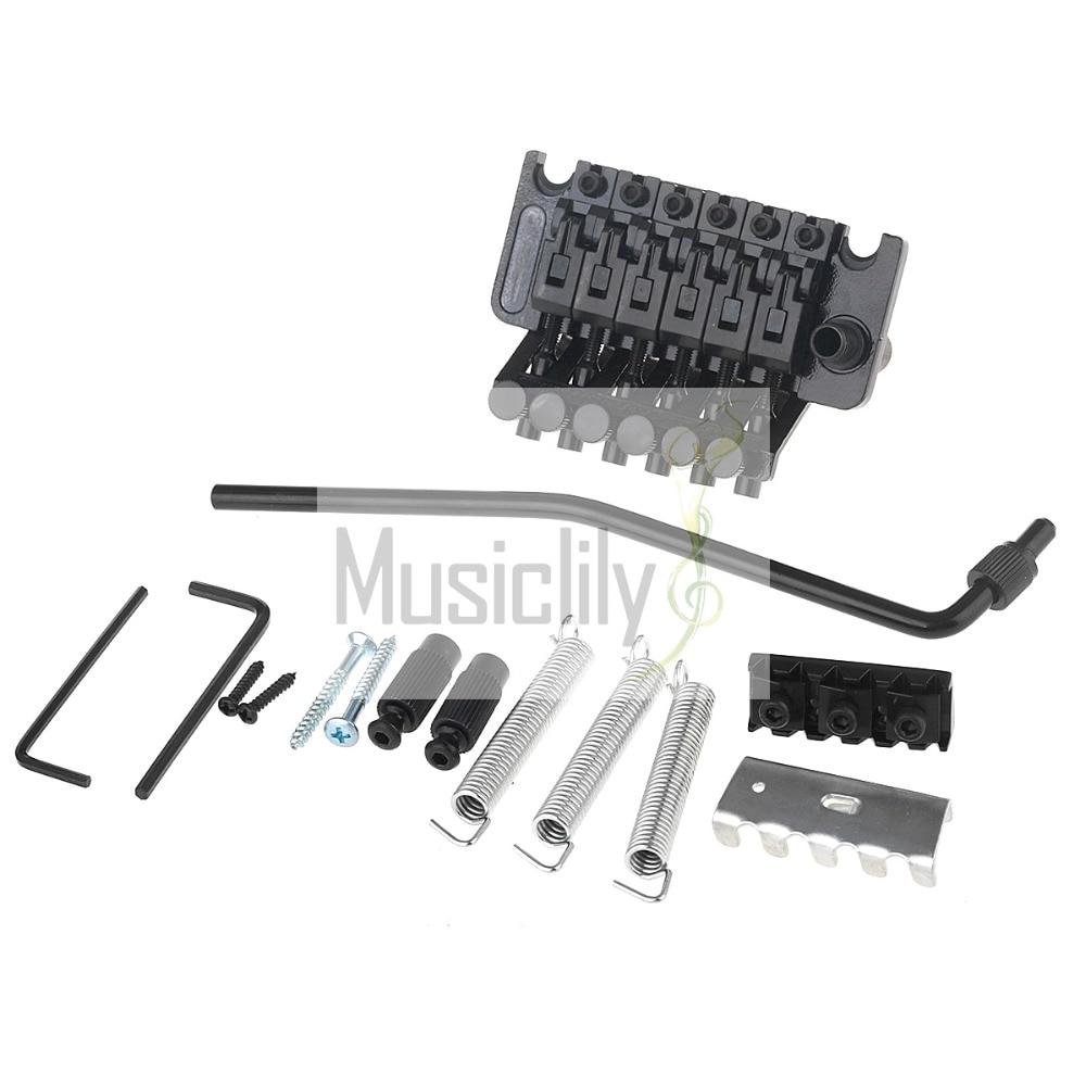 Black Zinc Alloy Locking Tremolo Bridge System Set For Guitar Parts niko chrome floyd rose lic tremolo bridge double locking system free shipping wholesales