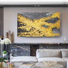 100% Hand Painted Golden Flowersea Art Oil Painting On Canvas Wall Adornment Pictures For Live Room Home Decor