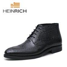 HEINRICH Marca Designer Estilo Crocodilo Mens Botas De Cowboy de Couro Genuíno Negócio Dedo Apontado Lace-Up Homens Sapatos Tenis Feminino