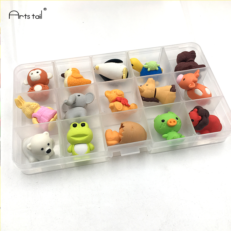 Cute Animal Fruit Pastry Eraser Kids Best Gift School Stationery Set