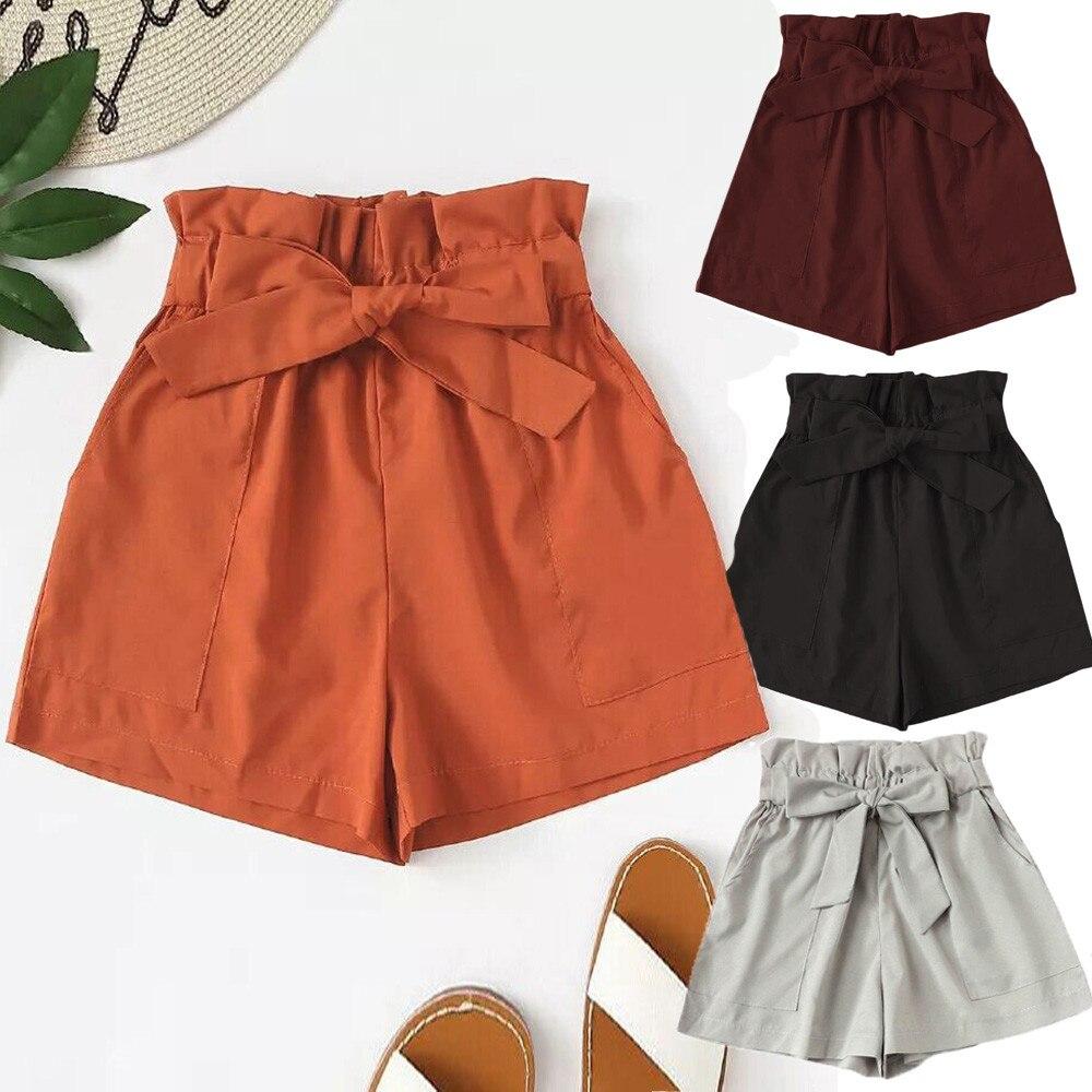 New Summer Shorts Women Pocket  Polyester High Waist Knee Length Solid Casual Summer Sport Trousers Bow Drawstring Feminino