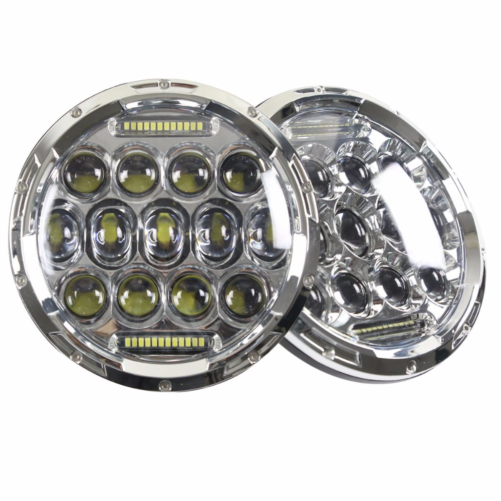 Pair For Jeep Wrangler JK TJ Led headlight 75W 7 Round Projector Headlights With DRL & Hi/lo Beam Headlamp pair 75w 7inch 5d headlight led h4 plug h13 drl hi lo beam for jeep jk tj cj hummer