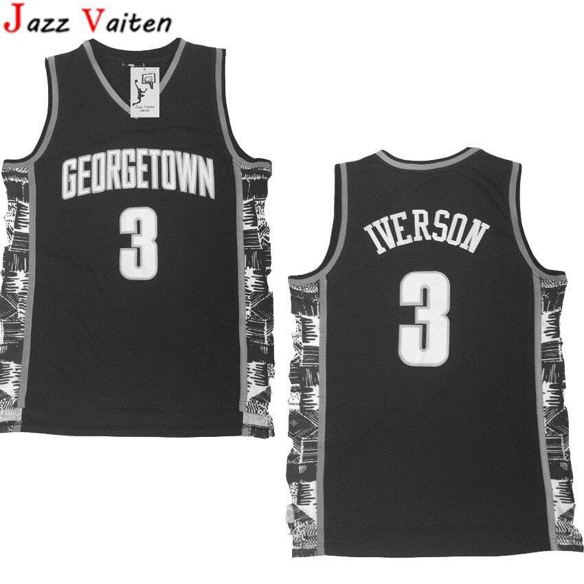 e608ff79b89 Jazz Vaiten new Arrived Men s Allen Iverson Jersey Grey Navy Georgetown  Hoyas College Throwback Basketball Jersey S-XXL