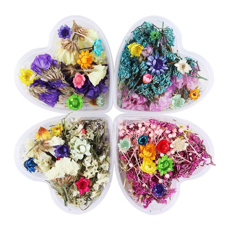 מעורב פרחים מיובשים נייל אמנות קישוטים משומר פרח עם לב צורה צורה מניקור טיפים קישוט אביזרים מסמר DIY