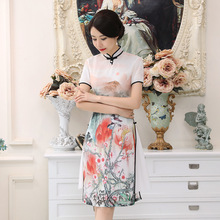 New Hot Sale Tight White Satin Vietnam Ao Dai Dress Chinese Vintage Cheongsam Women' s Short Sleeve Print Short Dress S-2XL AD4