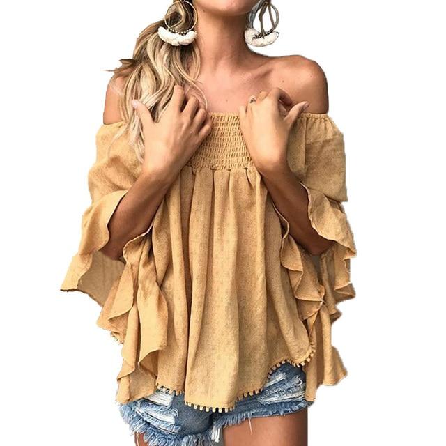 קפלים מעל כתף חולצות לנשים אופנה כחול מזדמן קיץ וחולצות גבירותיי עלה הדפסת Boho כותנה חולצות Blusas