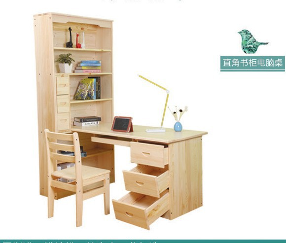 All Wood Desk Pine Bookshelf Combination Corner Bookcase Computer Pastoral Right Learning In Desks From Furniture On Aliexpress