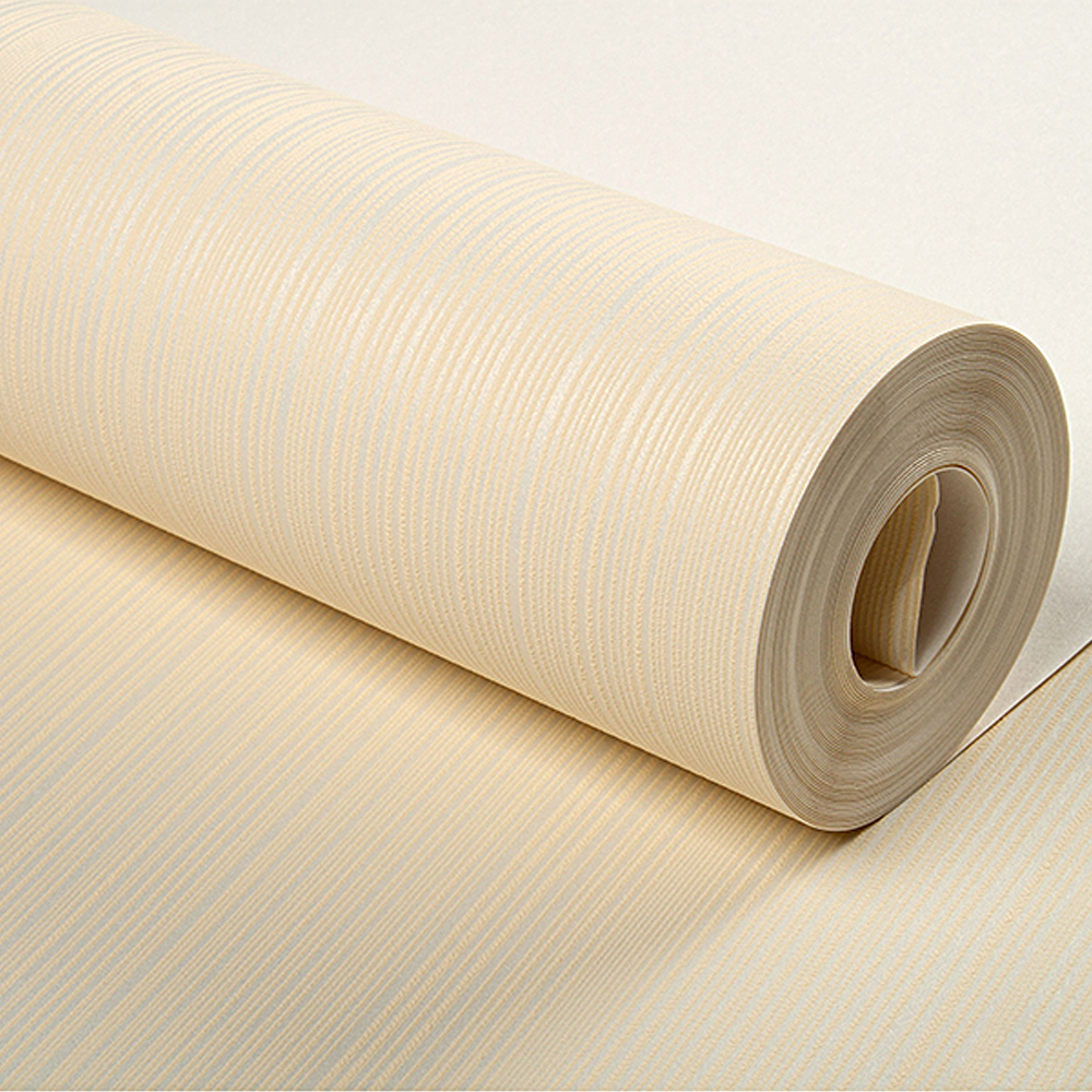 Modern solid plain stripe flocked non woven wallpaper for for Cheap plain white wallpaper