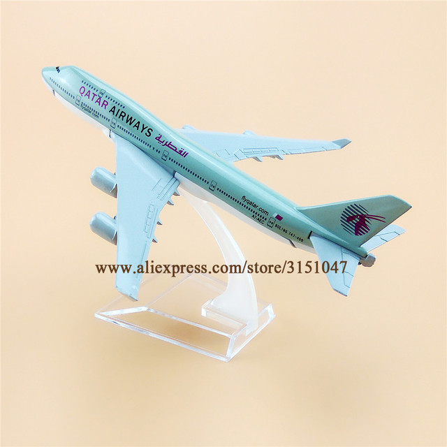 US $9 43 35% OFF Air Qatar Airways B747 Boeing 747 400 Airlines Airplane  Model Alloy Metal Model Plane Diecast Aircraft 16cm Gift-in Figurines &