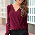 New Fashion Women Ladies Long Sleeve Chiffon Blouse V Neck Lace Crochet Hollow Back Top Shirts Blusas