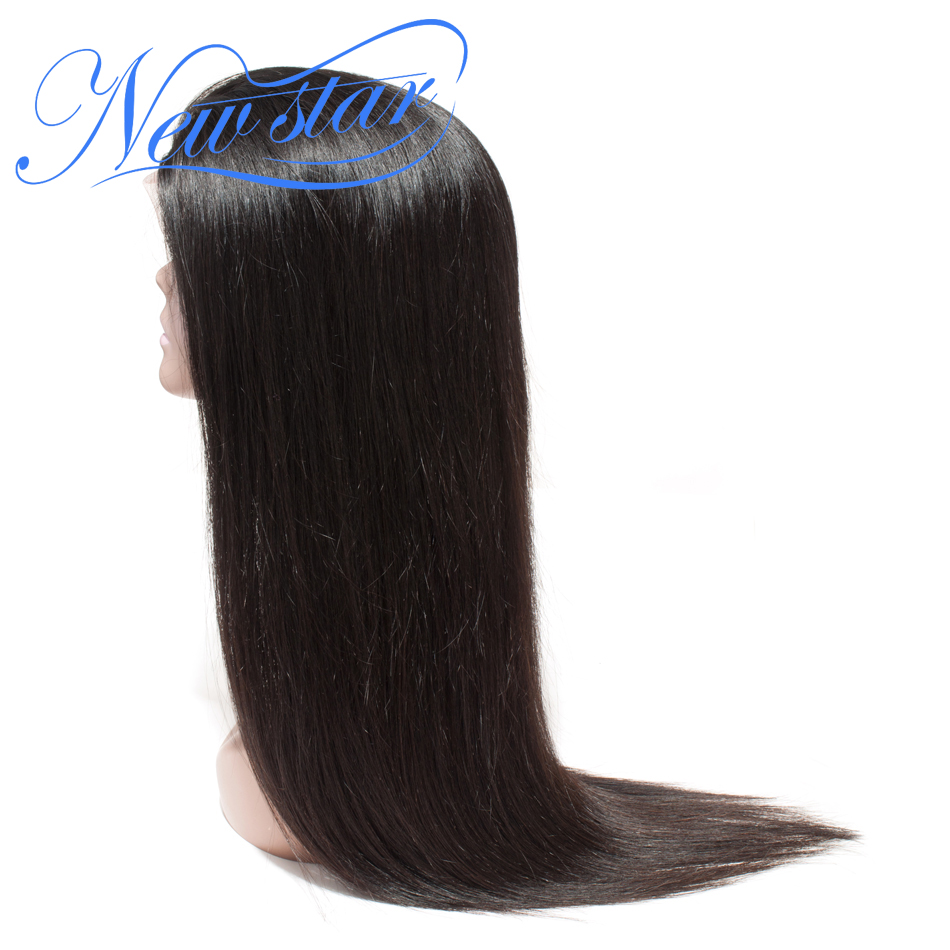 Brazilian Straight Glueless Lace Frontal Wig 130% Density 100% Virgin Human Hair Pre Plucked Natural Hairline New Star Hair