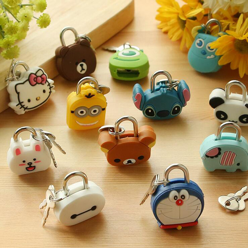 Luggage-Bag Journal Diary-Book Metal-Lock Animals Cartoon Kawaii File-Holder-Accessories